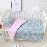 3 Pcs Set Baby Bedding Set Included Duvet Cover Flat Sheet Pillowcase Pure Cotton Flamingo Pattern