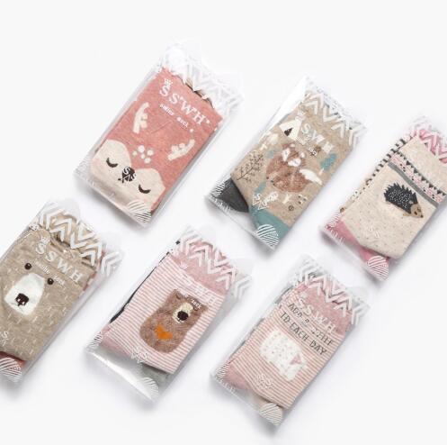 2018 OLN 6 paires/lot Coréenne Chaussettes Femmes Coton Mignon de Bande Dessinée Fox Panda Lapin Animal Chaussettes Calcetines 6 colorss