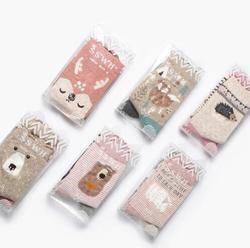 2018 OLN 6 par/lote Calcetines coreanos mujeres algodón lindo dibujos animados zorro Panda conejo Animal Calcetines 6 colores