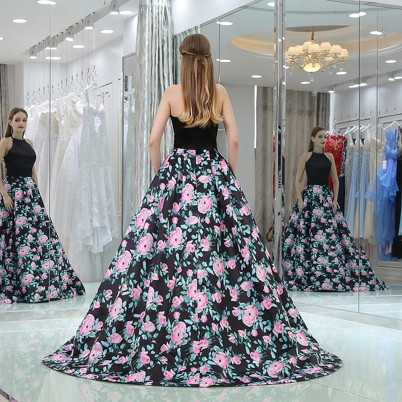Elegant Evening Dresses Open Back 2019 Vestido De Festa 3D Floral Print Formal Dress Long Party Prom Gowns - 2