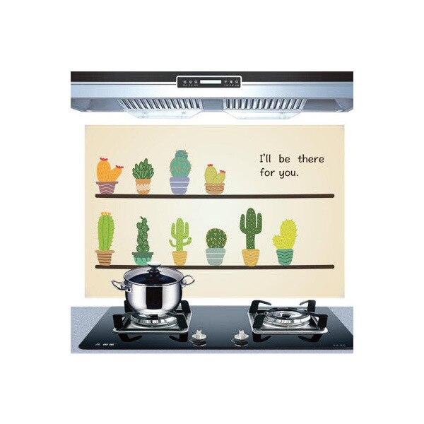 Самоклеющиеся обои для кухни из алюминиевой фольги, наклейки для кухонного шкафа, маслостойкие водонепроницаемые Мультяшные наклейки на стену - Цвет: K