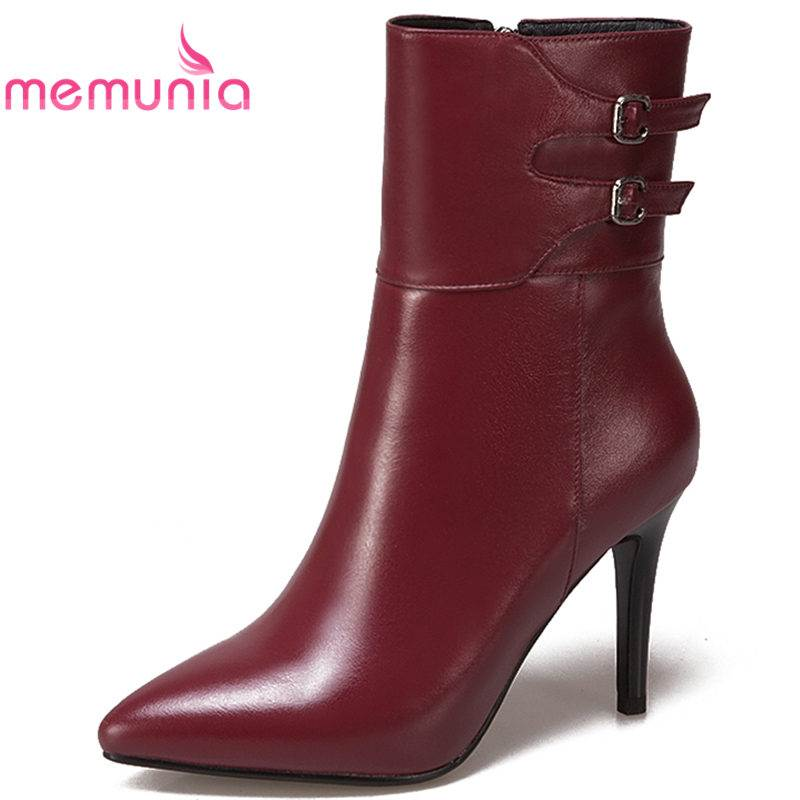 MEMUNIA NEW arrival 2018 fashion pointed toe ankle boots for women buckle genuine leather boots stiletto high heel autumn boots fashion pointed toe and stiletto heel design ankle boots for women