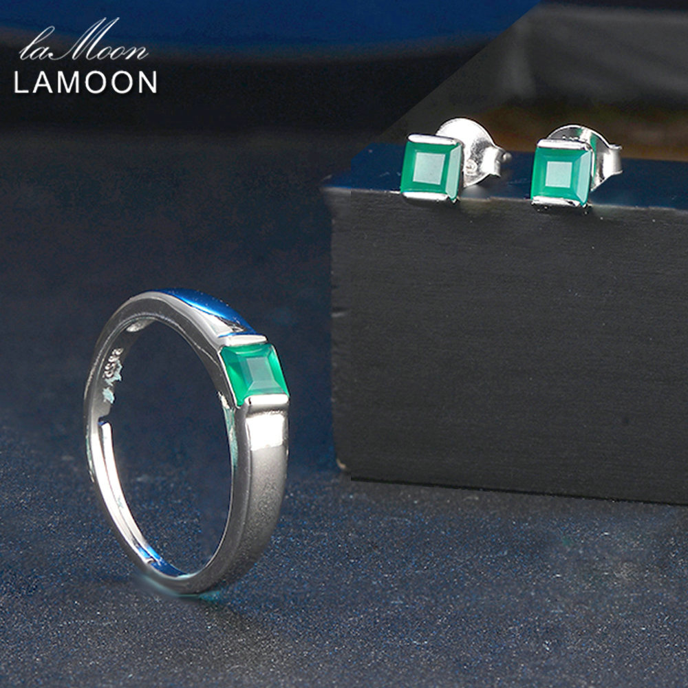 LAMOON 100% Natural Green Agate Chalcedony 925 Sterling Silver Jewelry Sets 2PCS S925 Fine Jewellery for Women Wedding V008-10