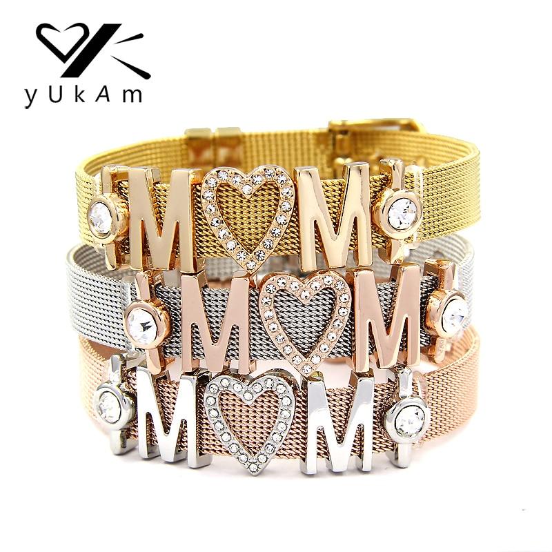 YUKAM Keeper Stainless Steel Mesh Keeper Bracelets Bangles Crystal Love MOM Heart Slide Charms Bracelets for Mothers Day Gifts