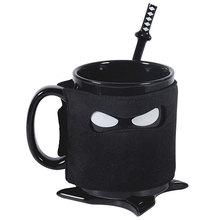 Berühmte cartoon ceramics ermorden koffein ninja tasse heißhunger becher schwarze maske keramik mit löffel schwert und shuriken bahn