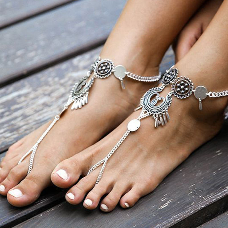 1 pcs Vintage Antique Silver Color Coin Anklet Women Bohemia Hollow Flower Chain Beach Barefoot Sandals Boho Chic Foot Jewelry