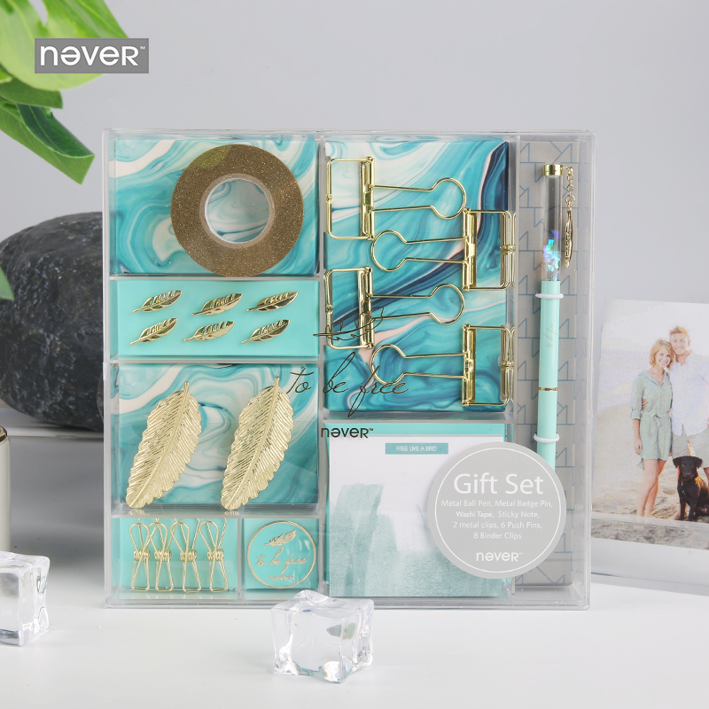 Never Light Blue Feather Element Stationery Set Gift Stationery Kit Tape Metal Pen Memo Pad Paper Clip Business Office SuppliesNever Light Blue Feather Element Stationery Set Gift Stationery Kit Tape Metal Pen Memo Pad Paper Clip Business Office Supplies