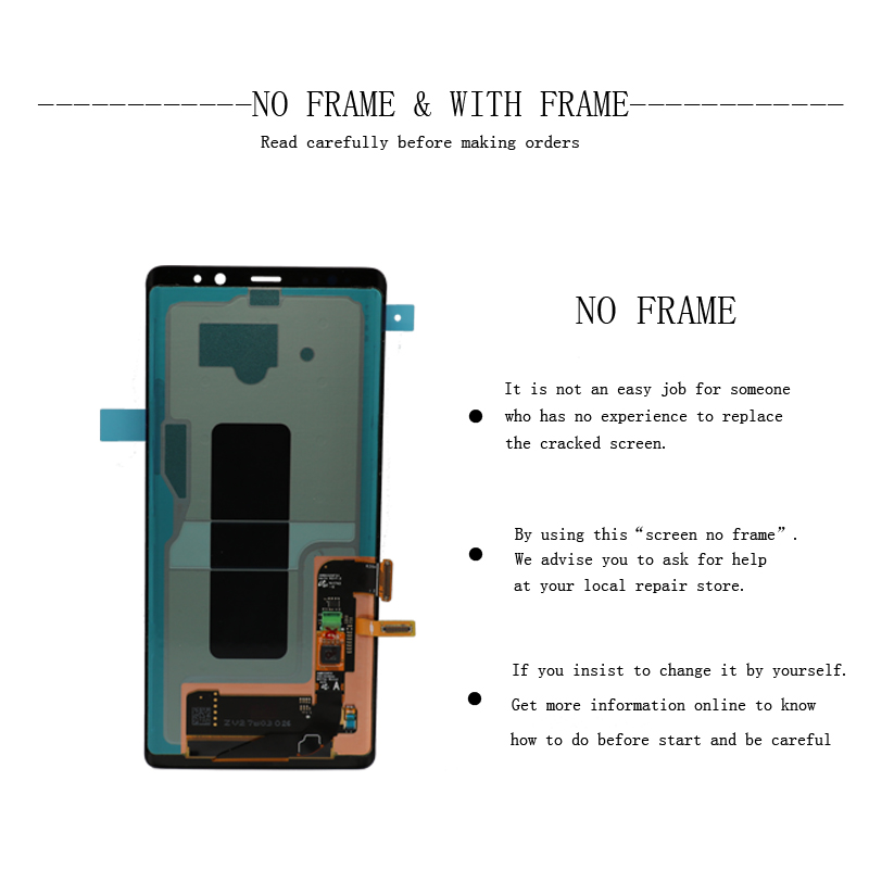 """New 6.3"""" Original AMOLED LCD Display For SAMSUNG Galaxy NOTE8 LCD N9500 N9500F LCD Display Touch Screen Replacement Parts+Frame"""