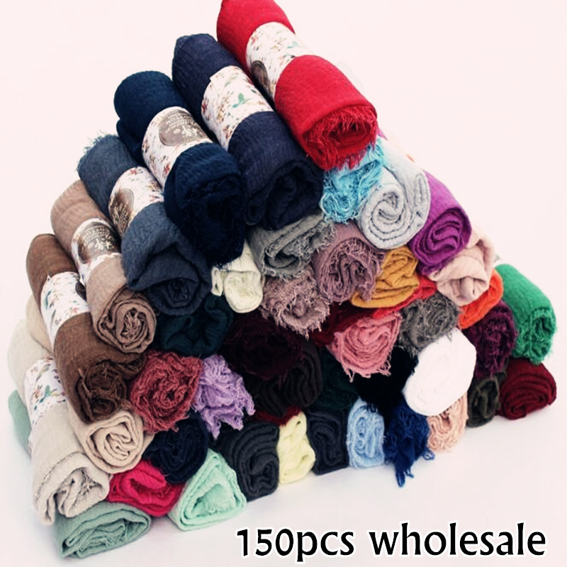 150pcs Packing Wholesale Wrinkle Shawl Women Muslim Ripple Hijab Plain Maxi Carves And Shawls 58 Color Muffler