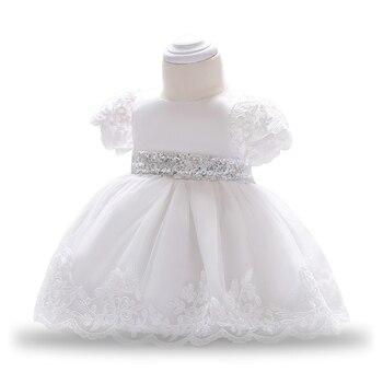 a04acb60 2018 verano bebé niña vestido encaje blanco vestidos para niñas 1 er año  cumpleaños fiesta boda