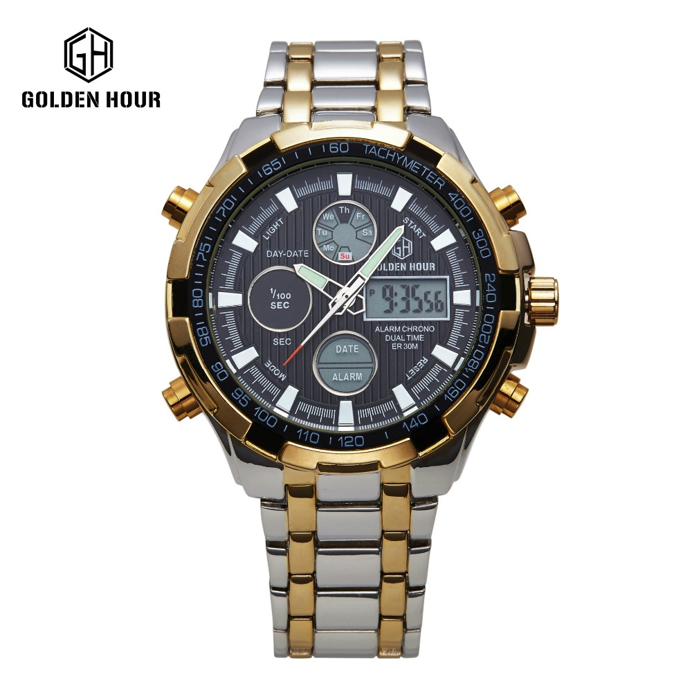 2017 Hot Stainless Steel golden Watch Men watch Analog