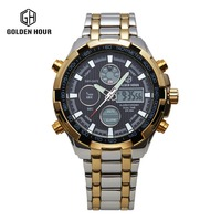 2017 Hot Stainless Steel golden Watch Men watch Analog Digital Alarm Display 3 ATM Water Resistant relojes deportivos hombres
