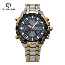 Caliente de Acero Inoxidable Reloj de oro Hombres Tiburón reloj Análogo-Digital de Alarma Display 3 ATM Resistente Al Agua relojes deportivos hombres