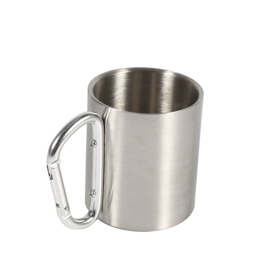 Stainless Steel Cup Camping Outdoor Cup Mug With Carabiner Hook Handle-~RTBJ