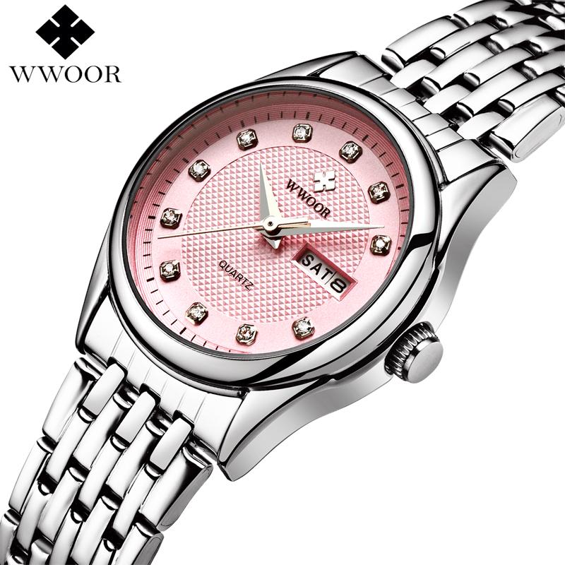 Prix pour Top Marque De Luxe Étanche Femmes Montres Femmes Quartz Heures Date Horloge Dames Occasionnels Montre-Bracelet Femelle Argent relogio feminino