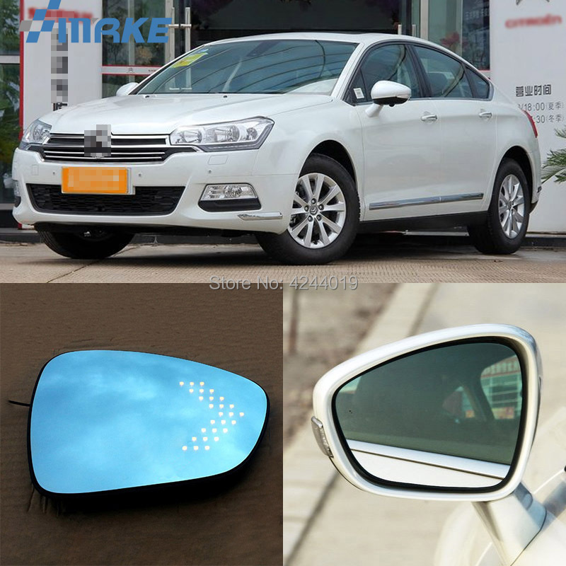smRKE For Citroen C5 Car Rearview Mirror Wide Angle Hyperbola Blue Mirror Arrow LED Turning Signal Lights