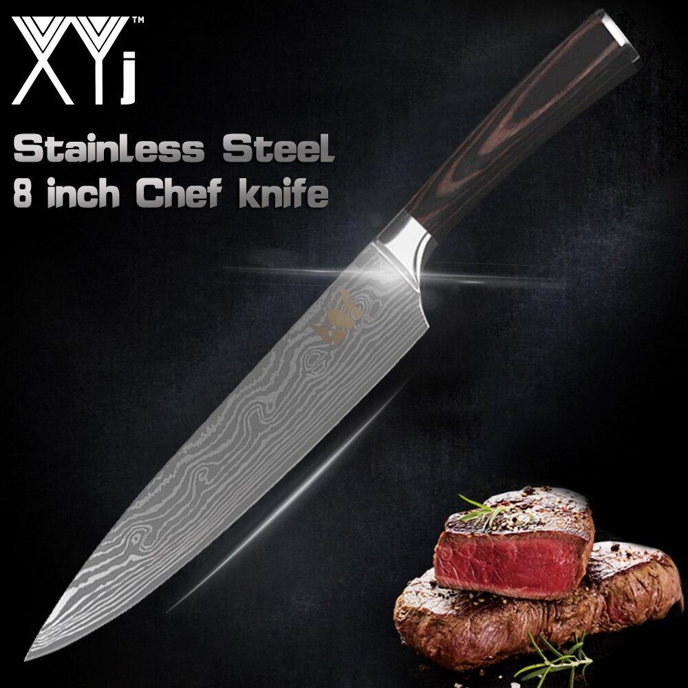 XYj juego de 8 pulgadas de Chef, cuchillos de acero inoxidable de acero de Damasco, Santoku cuchillos de cocina cuchilla de corte cuchillos cuchillo del regalo