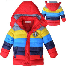 Children Jackets Boys stripe Winter down coat for 2-7 yrs