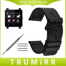 24mm correa de acero inoxidable + herramientas para sony smartwatch sw2 milanese reloj banda de reemplazo correa de muñeca pulsera de plata negro
