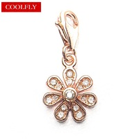 Thomas Style Rose Gold Color Zirconia Pave Flower Charm Pendant 2017 New Brand Making Gift Jewelry