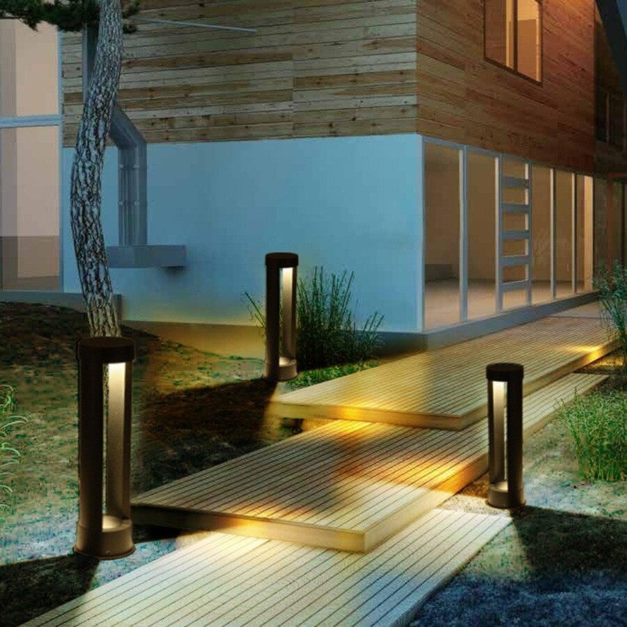 BEIAIDI 40/60 cm Moderna A LED per Esterni Parco Patio Giardino Prato Luce Impermeabile 2 di Alluminio Colonna Comunità Parco Pathway della Lampada - 4
