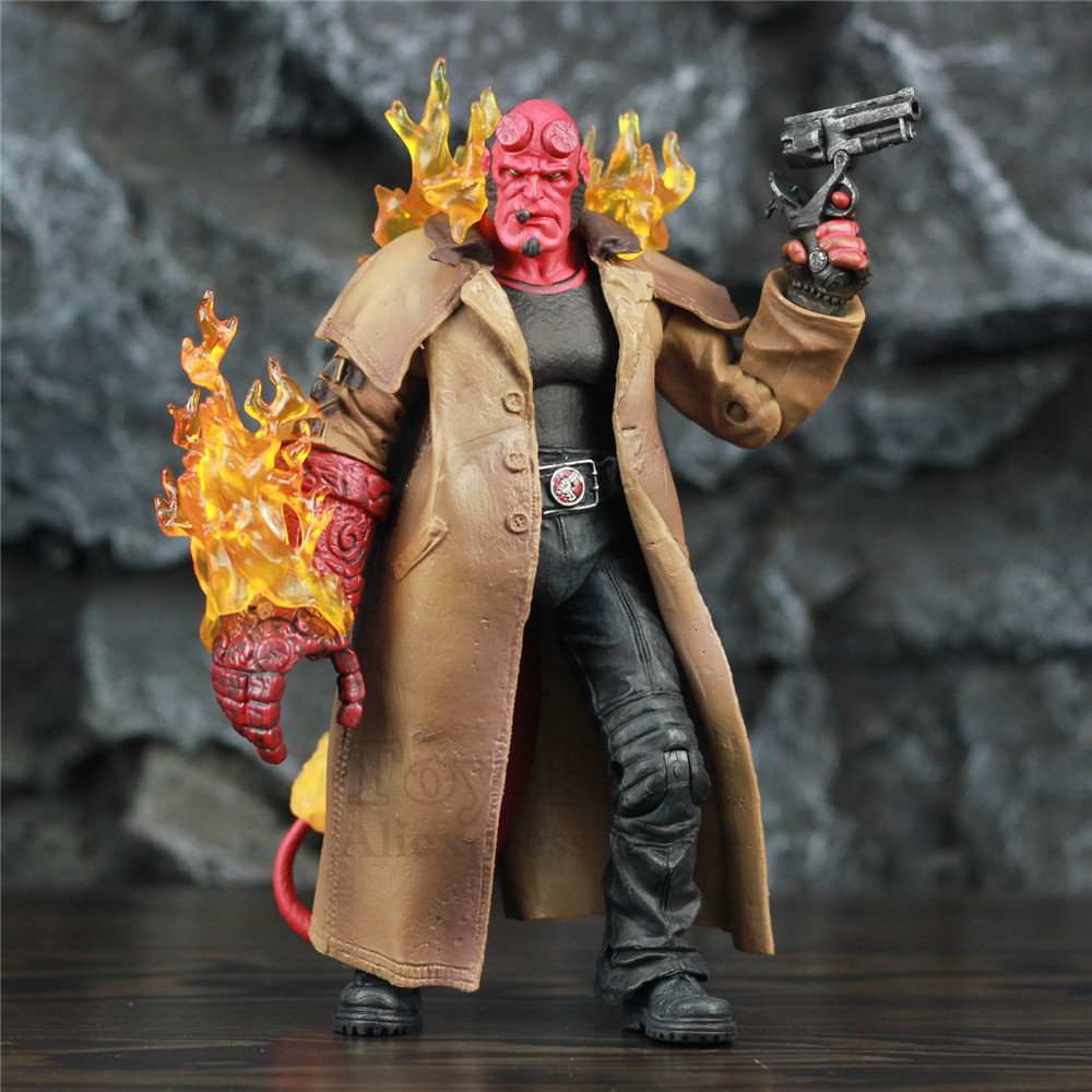 Smoking Hellboy HB 7 Action Figure Super Hero Movie 2004 KO's Mezco Toys Samaritan Hand Gun Anung Un Rama Son of Satan Doll image