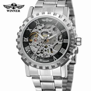 Zwycięzca srebrny biegów zegarki mężczyźni moda Casual szkielet zegarki automatyczne mechaniczne zegarki stalowy pasek Relogio Masculino tanie i dobre opinie T-WINNER bez wodoodporności CN (pochodzenie) Składane bezpieczne zapięcie Moda casual Samoczynny naciąg 21cm STAINLESS STEEL