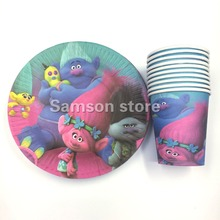Party supplies 60pcs for 30 kids Trolls theme birthday party decoration tableware set, 30plates+30cups