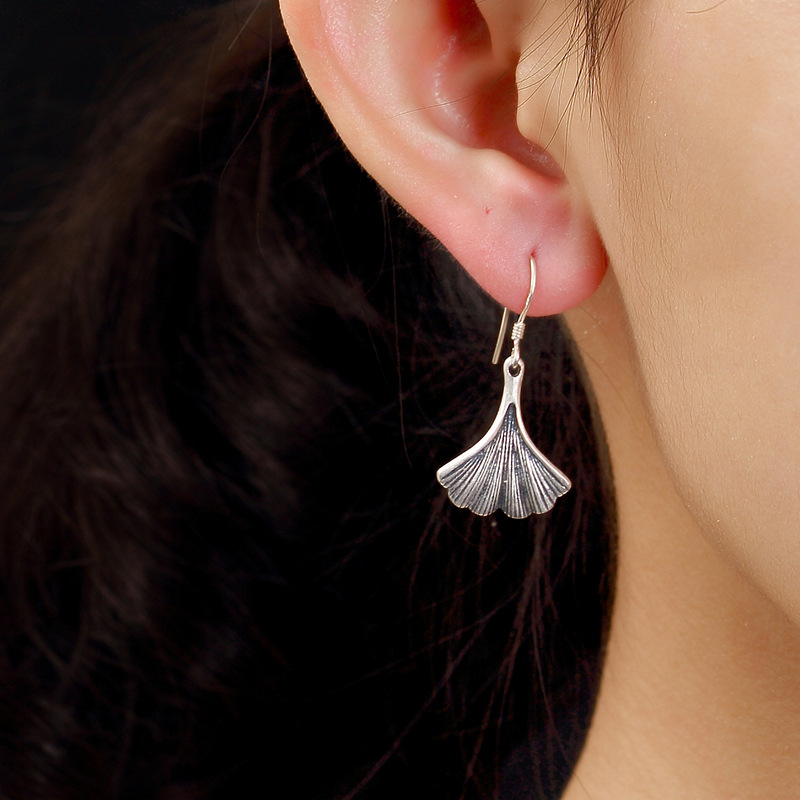 Pure Silver, Antique, Old Matte Ginkgo Leaf, Womens Sterling Silver, Personality, Jog Earrings, Earrings Wholesale.
