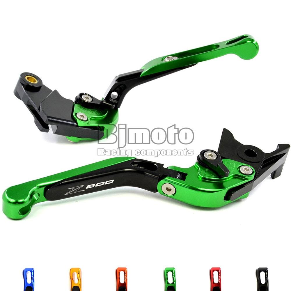 ФОТО Green Motorcycle Adjustable CNC Aluminum Brakes Clutch Levers Set Motorbike brake For Kawasaki Z800 E version 2013 2014 2015 16