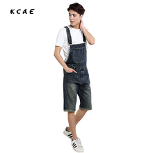 2016 Summer Men`s Denim Shorts Overalls Vintage Washed Multi-Pockets Jean Jumpsuit For Men Big and Tall Plus Size S-4XL