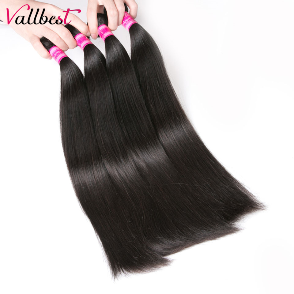 Vallbest Peruvian Straight Hair Human Hair Bundles Hair Weave Extension Non-Remy Hair 1B Natural Black #1 Jet Black 100g/piece