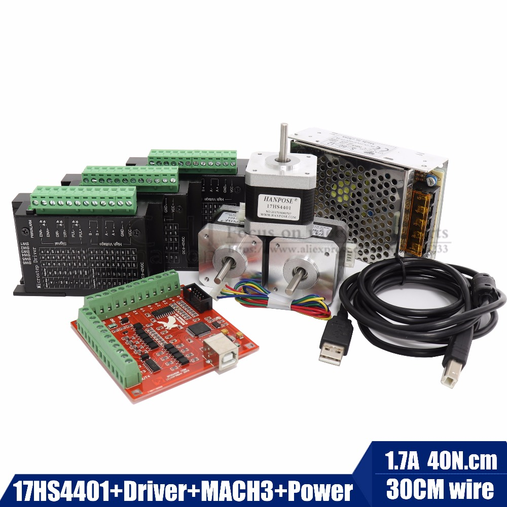 Free shipping best combinatio 17hs4401 Stepper Motor 42 motor Nema 17 +TB6600 motor Driver+MACN3 Controller card+12V5A60W power