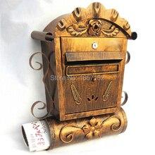 Чугунная почтовый ящик настенный металлический ящик для почтовыx писeм вилла античная латунь настенное крепление чугунный почтовый ящик тиснением отделка декор