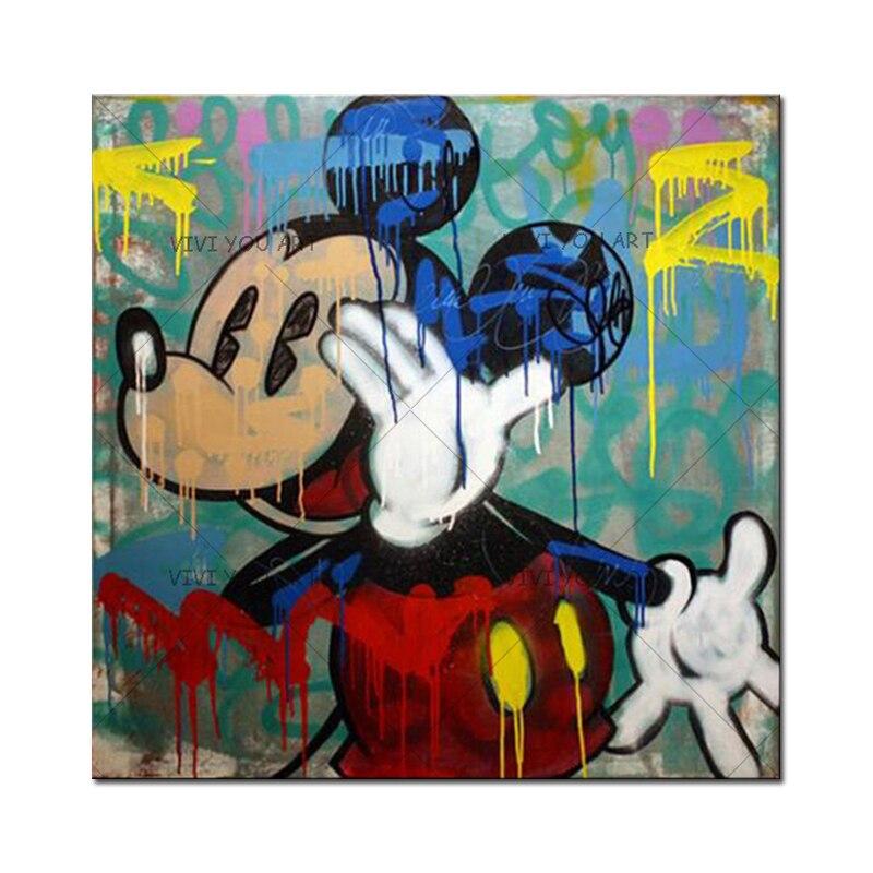 Handmade Alec Graffiti Mickey Mouse Art Custom Painting Pop Art Street Art Urban Art On Canvas
