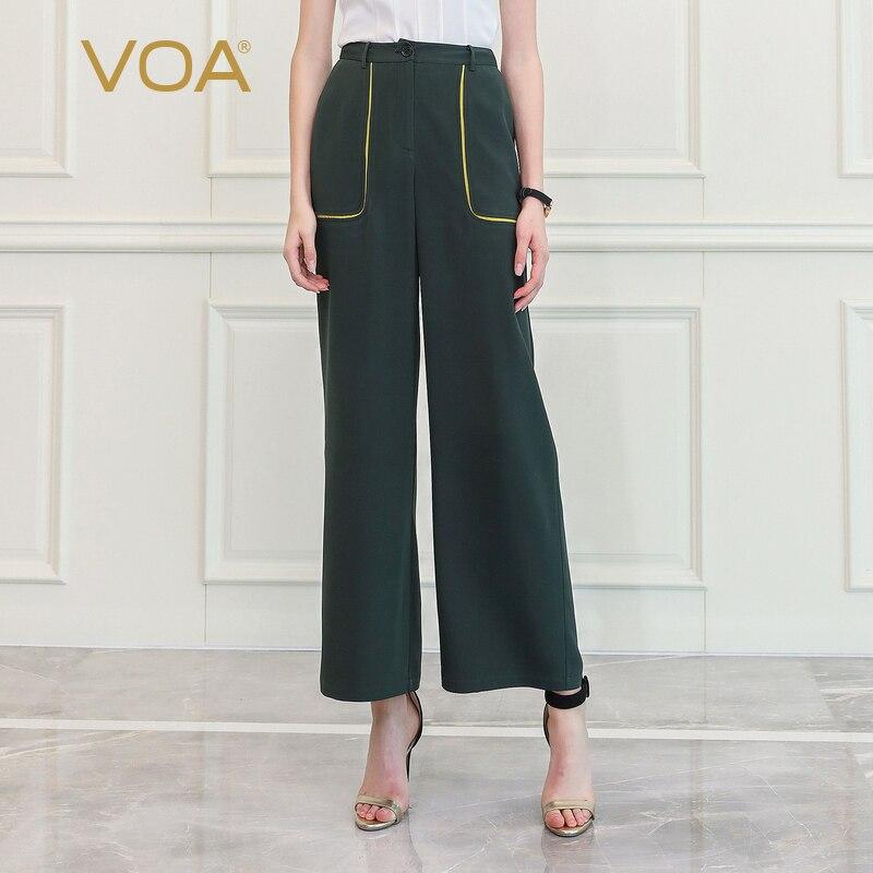 VOA High Waist Wide Leg Pants Military Dark Green Trousers Women Heavy Silk Loose Broeken Cool Big Pockets Street Snap Wear K810 1