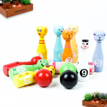 Wooden Bowling Ball Toys Kids Puzzle Learning Game Ball Toys Cute Cartoon(China)