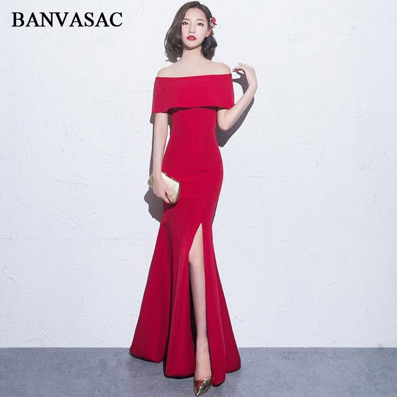 BANVASAC Elegant Boat Neck Short Sleeve Mermaid Long Evening Dresses 2018 Sexy Split Backless Party Prom Gowns