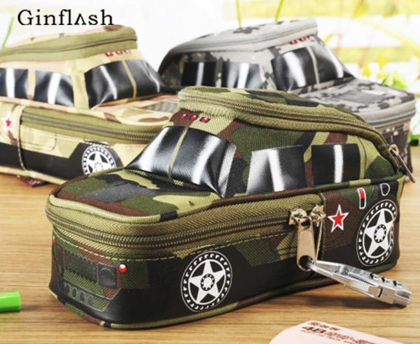 Pencil case vehicle pen pouch bag with combination lock boys Double zipper camouflage Canvas large school Pencil box military big capacity high quality canvas shark double layers pen pencil holder makeup case bag for school student with combination coded lock