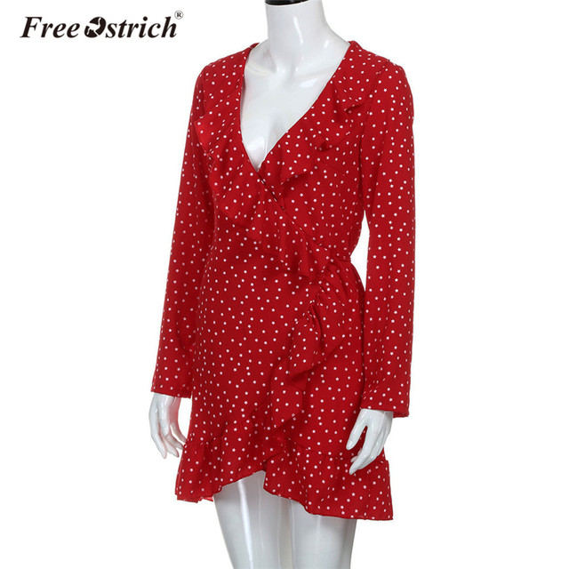 Free Ostrich Dress Chiffon Dress Women Long Sleeve Ruffles Lace Up Star Print Slim Dress Elegant Party vestido Dropshipping