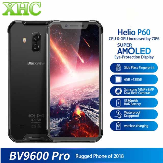 """Blackview BV9600 Pro IP68 Waterproof 6GB+128GB Mobile Phone 6.21"""" Octa Core Android8.1 Wireless Charging NFC Dual SIM Smartphone"""