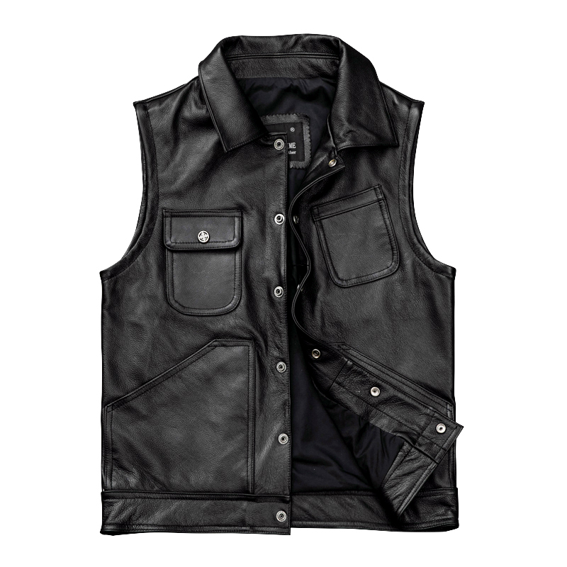 2019 Black Men American Casual Style Leather Vest Plus Size XXXXL Genuine Cowhide Spring Slim Fit Natural Vest FREE SHIPPING