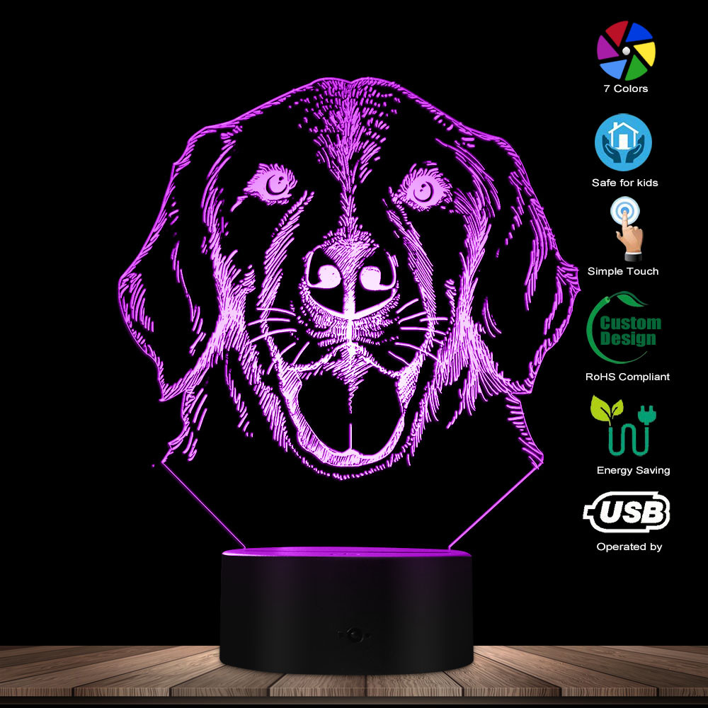 3D Labrador Dog Breed Portrait LED Night Light Personalised Custom Name Pet Puppy Dog 3D Optical Illusion Table Lamp Decorative