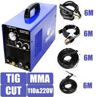110/220 V Dupla Voltagem 3 Em 1 Multifunções Máquina de Solda TIG MMA CORTE Plasma 520TSC Soldador Inversor Com acessório Pós Livre