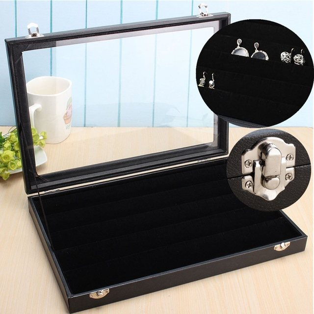 Black Cufflinks Ring Jewelry Box With Gl Cover Lock Stud Earring Storage Bo Organizer Case Jewellery