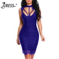 INDRESSME Sexy Lace Hollow Out Knee Length O Neck Backless Solid Sleeveless Summer Women Lady Bandage
