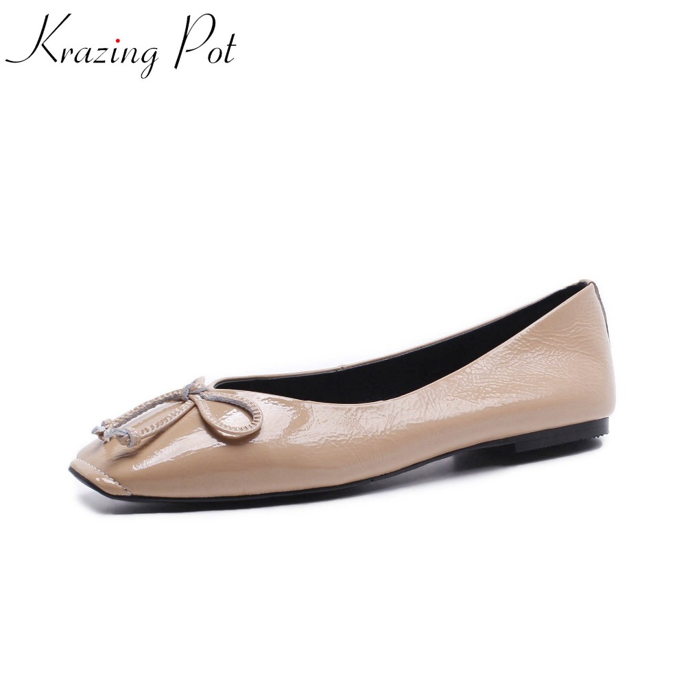 Krazing Pot 2018 new cow leather pointed toe streetwear shoes solid color bowtie slip on simple classic European style flats L66 2017 krazing pot new women pumps slip on cow leather med heels solid pointed toe princess style european designer nude shoes l29