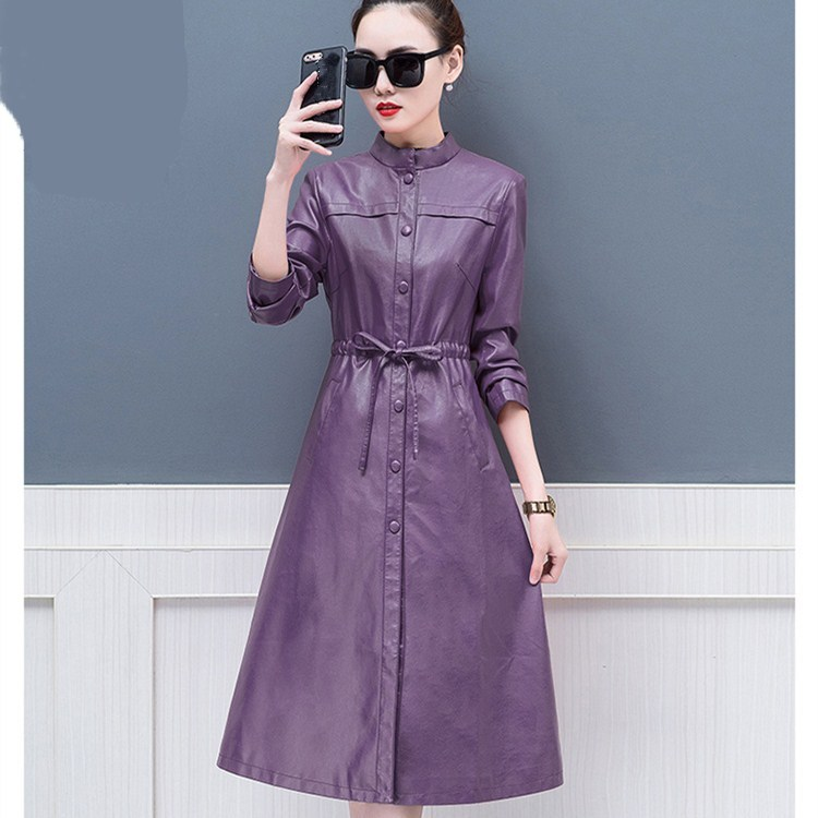 New Fashion Women Plus Size Casual Outwear Autumn Winter Lace-Up Long Trench Warm Single Breasted Pu   Leather   Coats