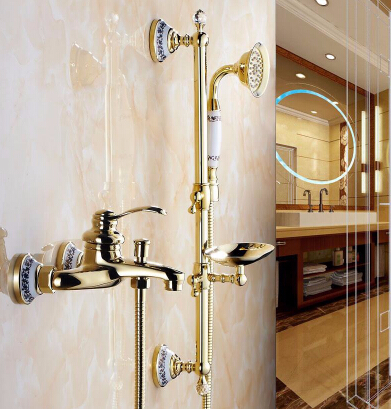 High Quality antique brass dual handle deck mounted bath and shower faucet with hand held showers Bathtub Faucet Set