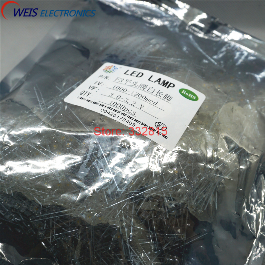 Imported From Abroad 1000pcs F3 Warm White Led Dip-2 3mm water Clear Long Legs 3.0-3.2v 1000-1200mcd Light Emitting Diode Lamp Big Clearance Sale Flat